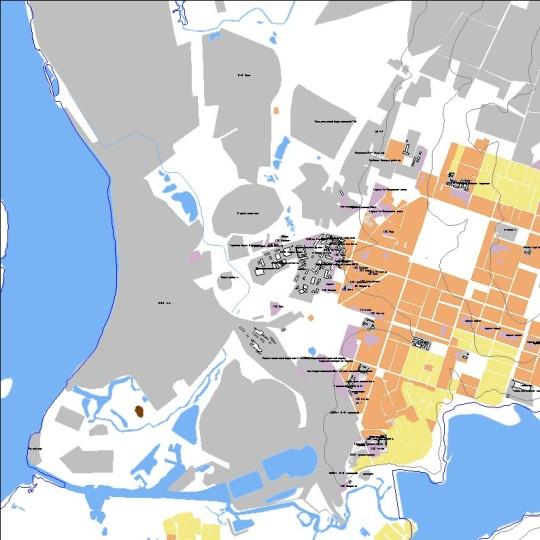 Водные объекты, промышленность, кварталы города